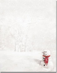 Imprintable Blank Stock - Snowman in Red Scarf Letterhead by Masterpiece Studios