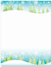Imprintable Blank Stock - Snowy Trees Letterhead by Masterpiece Studios
