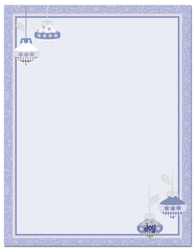 Imprintable Blank Stock - Periwinkle Ornaments Letterhead by Masterpiece Studios