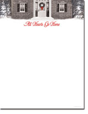 Imprintable Blank Stock - Wreath With Red Ribbon Letterhead by Masterpiece Studios