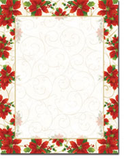 Imprintable Blank Stock - Poinsettia Swirl Letterhead by Masterpiece Studios