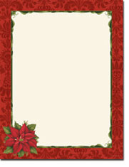 Imprintable Blank Stock - Poinsettia Damask Letterhead by Masterpiece Studios