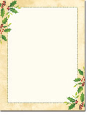 Imprintable Blank Stock - Falling Holly Letterhead by Masterpiece Studios