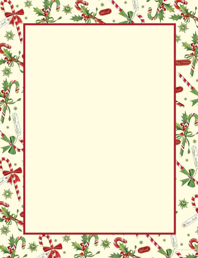 Imprintable Blank Stock - Candy Cane & Holly Letterhead by Masterpiece Studios