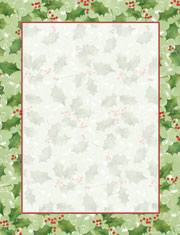 Imprintable Blank Stock - Jolly Holly Letterhead by Masterpiece Studios