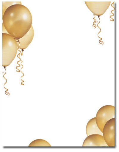 Imprintable Blank Stock - Gold Balloons Letterhead by Masterpiece Studios