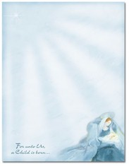 Imprintable Blank Stock - Mary With Baby Jesus Letterhead by Masterpiece Studios
