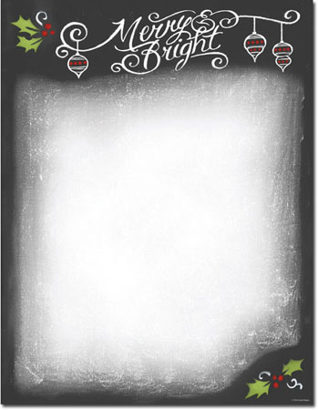Imprintable Blank Stock - Chalkboard Holiday Letterhead by Masterpiece Studios