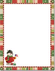 Imprintable Blank Stock - Patriotic Snowman Holiday Letterhead by Masterpiece Studios