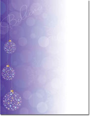 Imprintable Blank Stock - Believe Ornaments Holiday Letterhead by Masterpiece Studios