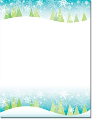 Imprintable Blank Stock - Snowy Trees Holiday Letterhead by Masterpiece Studios