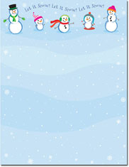 Imprintable Blank Stock - Let It Snowmen Holiday Letterhead by Masterpiece Studios