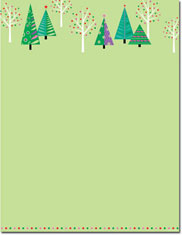 Imprintable Blank Stock - Sparkling Christmas Trees Holiday Letterhead by Masterpiece Studios