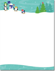 Imprintable Blank Stock - Penguins Playing Holiday Letterhead by Masterpiece Studios