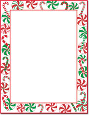 Imprintable Blank Stock - Peppermint Party Holiday Letterhead by Masterpiece Studios