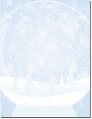 Imprintable Blank Stock - Snow Globe Holiday Letterhead by Masterpiece Studios