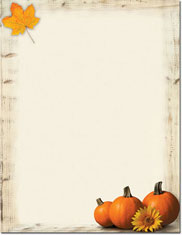 Imprintable Blank Stock - Pumpkin Sunflower Holiday Letterhead by Masterpiece Studios