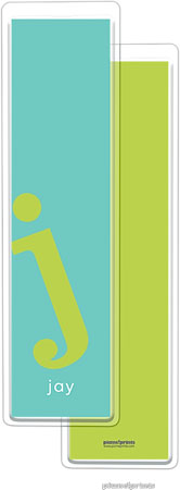 PicMe Prints - Personalized Bookmarks (Alphabet Tall - Chartreuse on Turquoise)