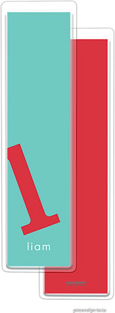 PicMe Prints - Personalized Bookmarks (Alphabet Tall - Poppy on Turquoise)