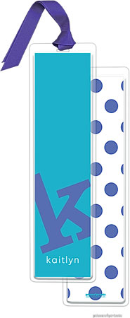 PicMe Prints - Personalized Bookmarks (Alphabet Tall - Cobalt on Peacock with Ribbon)