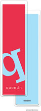 PicMe Prints - Personalized Bookmarks (Alphabet Tall - Sky on Cherry)