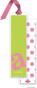 PicMe Prints - Personalized Bookmarks (Alphabet Tall - Bubblegum on Chartreuse with Ribbon)