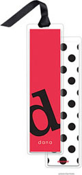 PicMe Prints - Personalized Bookmarks (Alphabet Tall - Black on Cherry with Ribbon)