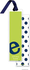 PicMe Prints - Personalized Bookmarks (Alphabet Tall - Navy on Chartreuse with Ribbon)