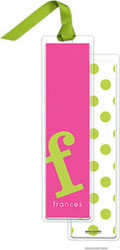 PicMe Prints - Personalized Bookmarks (Alphabet Tall - Chartreuse on Hot Pink with Ribbon)
