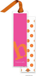 PicMe Prints - Personalized Bookmarks (Alphabet Tall - Tangerine on Hot Pink with Ribbon)