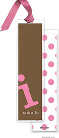 PicMe Prints - Personalized Bookmarks (Alphabet Tall - Bubblegum on Chocolate with Ribbon)