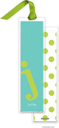 PicMe Prints - Personalized Bookmarks (Alphabet Tall - Chartreuse on Turquoise with Ribbon)