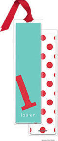 PicMe Prints - Personalized Bookmarks (Alphabet Tall - Poppy on Turquoise with Ribbon)