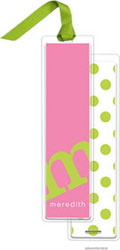 PicMe Prints - Personalized Bookmarks (Alphabet Tall - Chartreuse on Bubblegum with Ribbon)