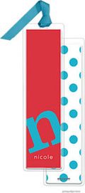PicMe Prints - Personalized Bookmarks (Alphabet Tall - Peacock on Poppy with Ribbon)