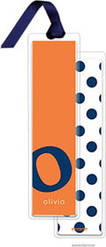 PicMe Prints - Personalized Bookmarks (Alphabet Tall - Navy on Tangerine with Ribbon)