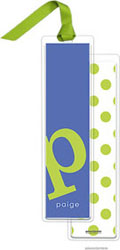 PicMe Prints - Personalized Bookmarks (Alphabet Tall - Chartreuse on Cobalt with Ribbon)