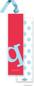 PicMe Prints - Personalized Bookmarks (Alphabet Tall - Sky on Cherry with Ribbon)