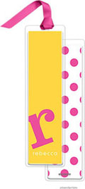 PicMe Prints - Personalized Bookmarks (Alphabet Tall - Hot Pink on Sunshine with Ribbon)