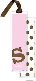 PicMe Prints - Personalized Bookmarks (Alphabet Tall - Chocolate on Hot Pink with Ribbon)