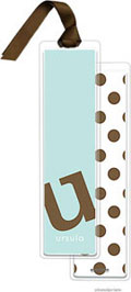PicMe Prints - Personalized Bookmarks (Alphabet Tall - Chocolate on Robins Egg with Ribbon)