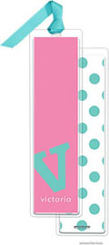PicMe Prints - Personalized Bookmarks (Alphabet Tall - Turquoise on Bubblegum with Ribbon)