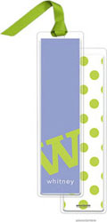 PicMe Prints - Personalized Bookmarks (Alphabet Tall - Chartreuse on Periwinkle with Ribbon)