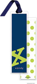 PicMe Prints - Personalized Bookmarks (Alphabet Tall - Chartreuse on Navy with Ribbon)