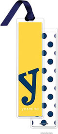PicMe Prints - Personalized Bookmarks (Alphabet Tall - Navy on Sunshine with Ribbon)