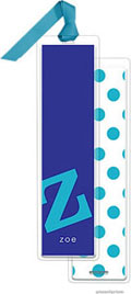 PicMe Prints - Personalized Bookmarks (Alphabet Tall - Peacock on Purple with Ribbon)