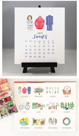 Flower & Vine - Watercolor Variety 2019 Desk Calendar & Easel