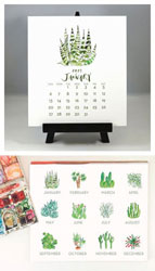 Flower & Vine - Cactus & Succulents Watercolor 2019 Desk Calendar & Easel