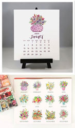 Flower & Vine - Floral Bouquets 2019 Watercolor Desk Calendar & Easel
