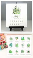 Flower & Vine - Cactus & Succulents Watercolor 2020 Desk Calendar & Easel